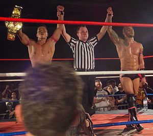 Ricochet (wrestler) - Ricochet (right) and Masato Yoshino captured the Open the United Gate Championship at the Open the Ultimate Gate event in March 2012