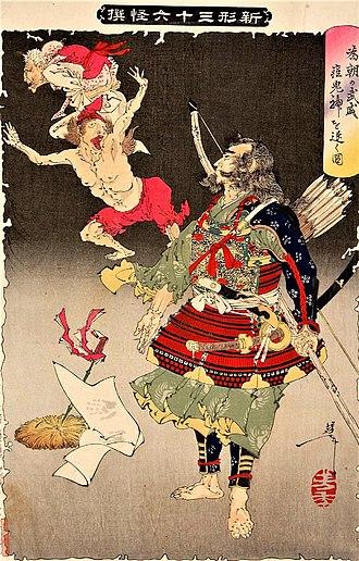 Minamoto no Tametomo - Minamoto no Tametomo chasing away demons, in an 1890 print by Yoshitoshi.