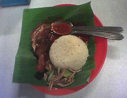 Hidangan nasi lemak yang merupakan makanan kegemaran orang Malaysia.