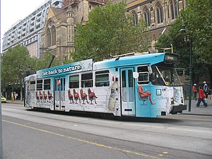 Melbourne tram route 67 - Z3 class tram on Swanston Street in April 2006