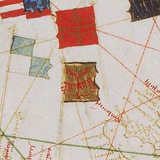 Serbian cross - Image: Zastava i grb nemanjicke Srbije (iz 1439. godine), prema portolanu Gabriel de Vallseca