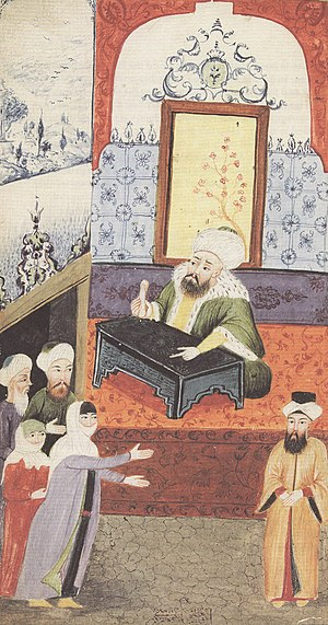 Qadi - An unhappy wife is complaining to the kadı about her husband's impotence. Ottoman miniature.