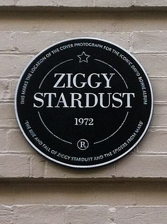 The Rise and Fall of Ziggy Stardust and the Spiders from Mars - Commemorative plaque for Ziggy Stardust in Heddon Street, where the original album cover photo was taken.