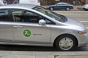 English: Zip car carsharing service at downtow...