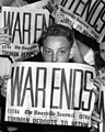 """""""WAR ENDS"""" """"The Knoxville Journal"""" """"EXTRA EXTRA"""" """"TRUMAN REPORTS TO BATION"""" on 14 August 1945, from- """"V.J."""" Day - Jackson Square Oak Ridge (6986740160) (cropped).jpg"""
