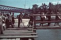 Újvidék 1940, Kikötő a Dunán, háttérben a lerombolt vasúti híd. Fortepan 92535.jpg