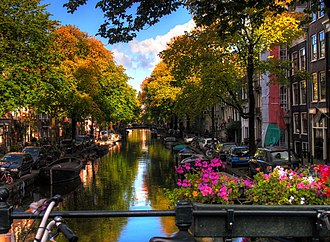 Canals of Amsterdam - View of a canal of Amsterdam.
