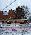 Надпись за Сталина на фоне восстанавливаемой Успенской церкви на ВИЗе Екатеринбург 19 марта 2021 года.jpg