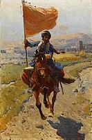 Франц Рубо - Киргизский всадников с флагом