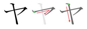Ya (kana) - Stroke order in writing ヤ