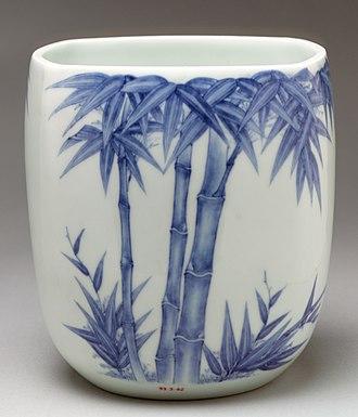 Hirado ware - Image: 染付竹文水指 Water Jar with Bamboo MET DP23117 93.3.42,a (cropped)