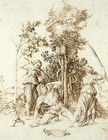 Morte di Orfeo, 1494, penna e argento su pergamena, Amburgo, Kunsthalle