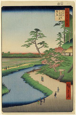 Hiroshige : L'ermitage de Basho et la colline de Camelias sur l'aqueduc de Kanda à Sekiguchi