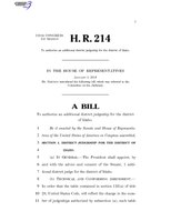 116th United States Congress H. R. 0000214 (1st session) - To authorize an additional district judgeship for the district of Idaho.pdf