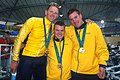 141100 - Cycling track Paul Lake Greg Ball Matthew Gray gold medals - 3b - 2000 Sydney medal photo.jpg