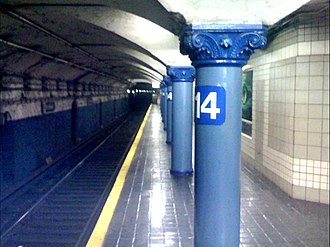 14th Street station (PATH) - The ornate station pillars at 14th Street Station
