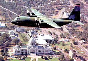 154th Training Squadron - A 189th Airlift Wing C-130 cargo plane flies over the state capitol in Little Rock, Arkansas