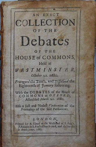 Exclusion Bill Parliament - Book of the 1680 Westminster House of Commons debates