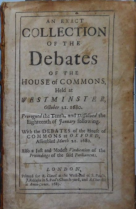 Book of the 1680 Westminster House of Commons debates 1680 Westminster House of Commons debates.jpg