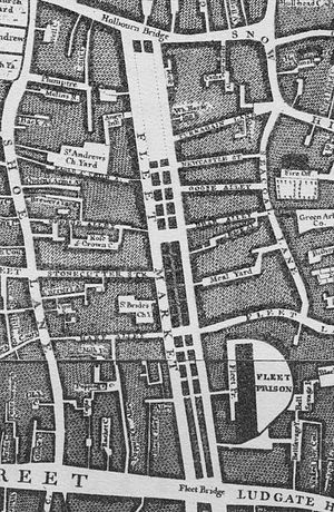 Fleet Market - Fleet Market, approximately 1746 - detail from Rocque's ''Map of London''