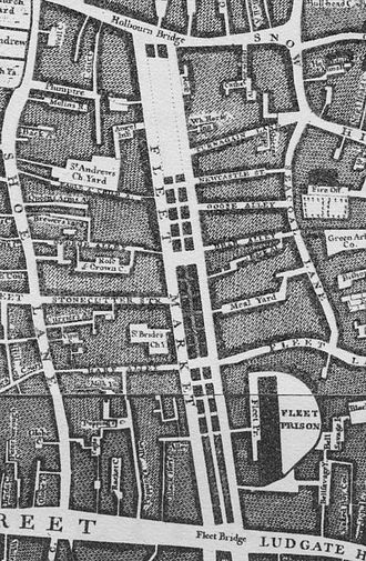 Fleet Prison - The site of the former Fleet Prison on Roque's Map of London 1746