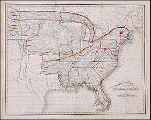 Adams–Onís Treaty - An 1833 map of the United States in the shape of an eagle