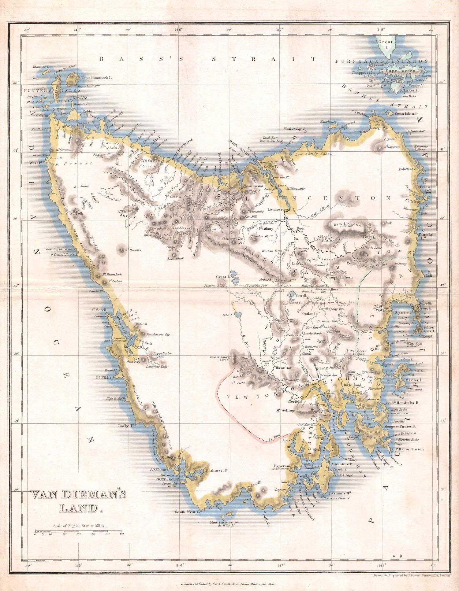 1837 Dower Map of Van Dieman's Land or Tasmania - Geographicus - Tazmania-dower-1837.jpg