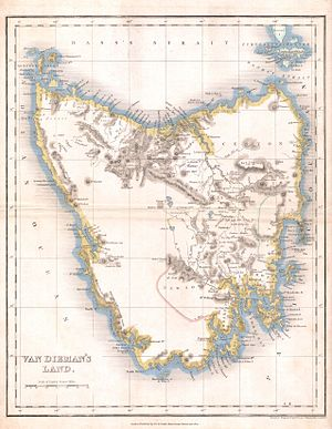 History of Tasmania - A map of Tasmania from 1837.