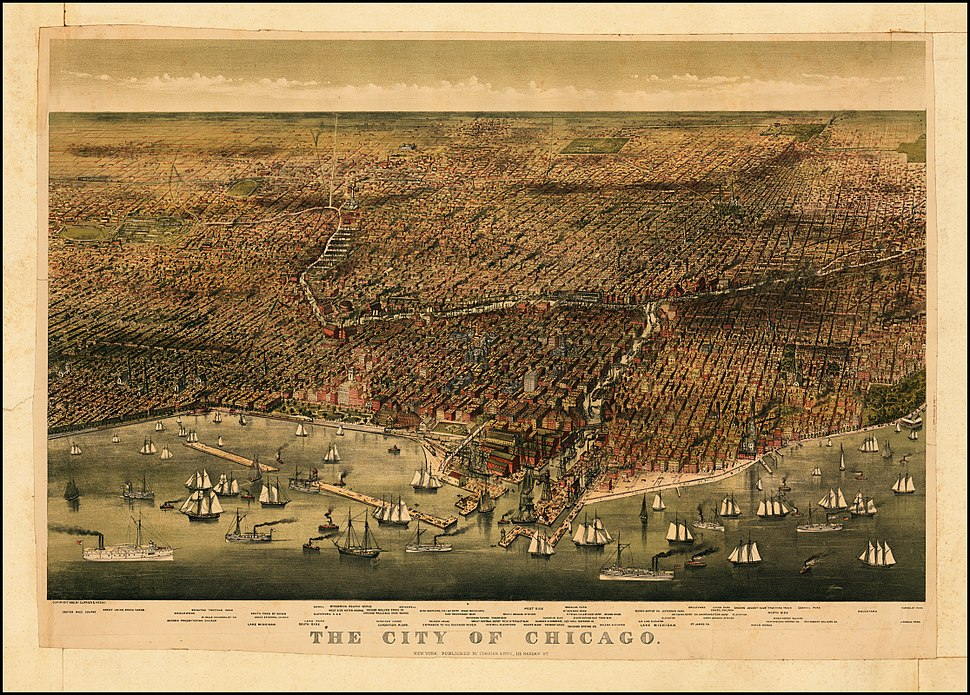 1874 Birds eye map of Chicago by Currier & Ives
