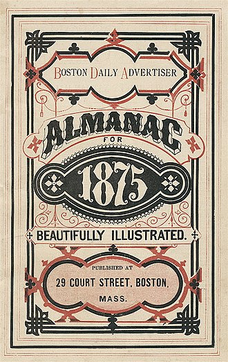 Boston Daily Advertiser - Image: 1875 Boston Daily Advertiser Almanac