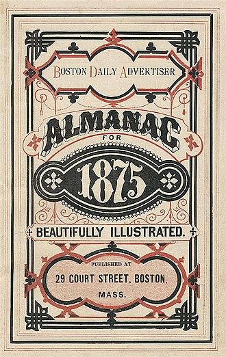 Boston Daily Advertiser - Image: 1875 Boston Daily Advertiser Almanac