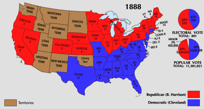 graphic regarding Printable Electoral Map titled 1888 United Suggests presidential election - Wikipedia