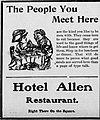 1910 - Hotel Allen Newspaper Ad Allentown PA.jpg
