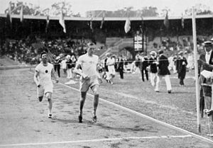 Athletics at the 1912 Summer Olympics – Men's 400 metres - Heat 4:Paul Zerling leads Yahiko Mishima.