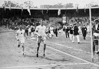 Athletics at the 1912 Summer Olympics – Men's 400 metres - Heat 4:Paul Zerling leads Yahiko Mishima.