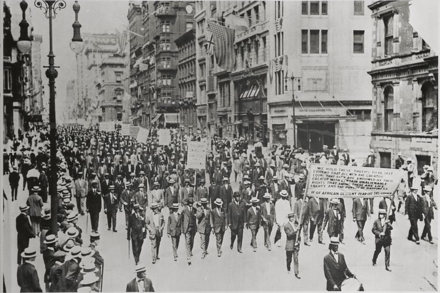 Du Bois organized the 1917 Silent Parade in New York, to protest the East St. Louis riots. 1917 Silent Parade men H.tiff