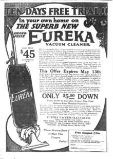 1922 Eureka Model 9 Vacuum Ad Offering A 10 Day Home Trial Of The Product