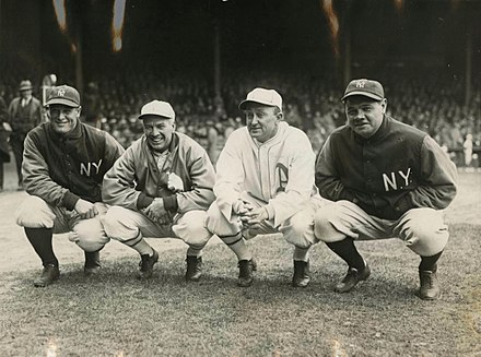 Lou Gehrig, Tris Speaker, Ty Cobb, and Ruth, 1928 1928 Gehrig Speaker Cobb Ruth.jpg
