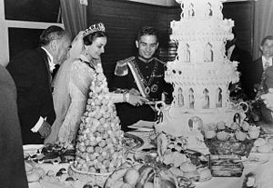 Dina bint Abdul-Hamid - King Hussein and Queen Dina on their wedding day, 18 April 1955.