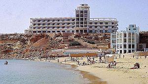 Għajn Tuffieħa - The Golden Sands Hotel, Mellieha, 1967. The initial stirrings of ' Package Holidays'.