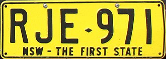 Vehicle registration plates of New South Wales - NSW – The First State