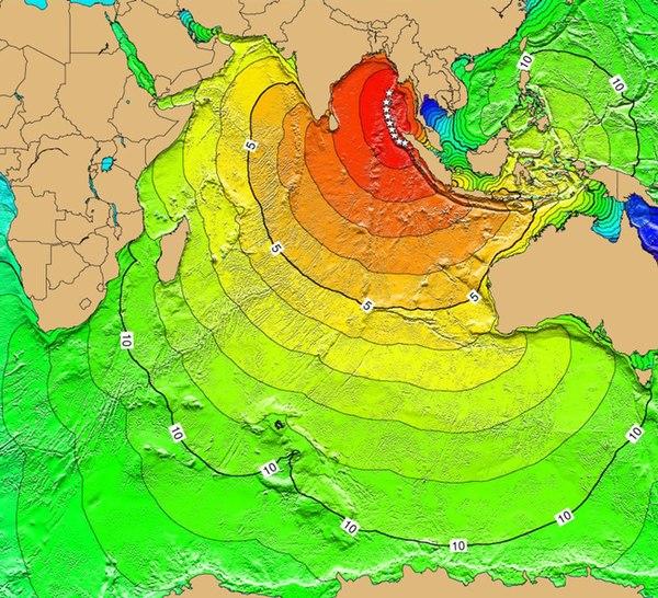 Tsunami-Reisezeitkarte für den Tsunami im Indischen Ozean 2004