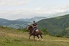 2014 Prowincja Tawusz, Gosz, Ormiański mężczyzna na koniu obok klasztoru Goszawank (01).jpg