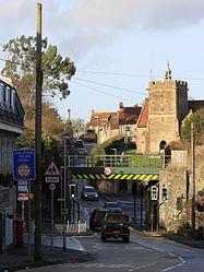 2015 at Templecombe station - Wincanton Road bridge and church.JPG