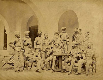 Bengal Native Infantry - A group photograph of 21st (Punjab) Regiment of Bengal Native Infantry, 1866