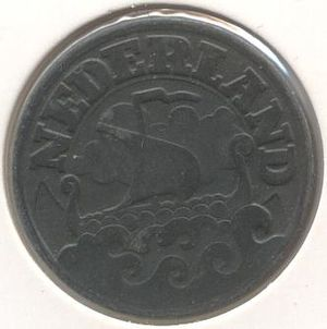 25 cents (World War II Dutch coin) - Image: 25 cent 1941(zink) achter 300