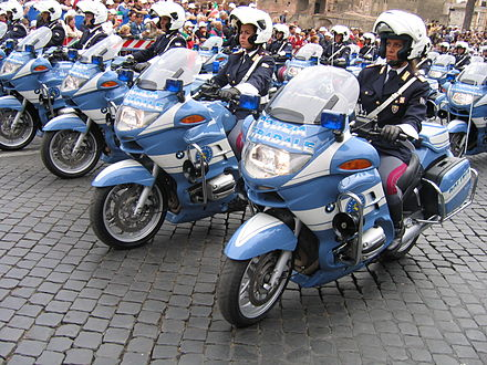 Motorcyclists of the Polizia stradale in Rome - Polizia di Stato