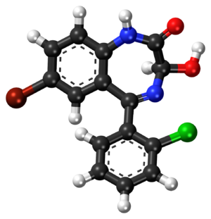 3-Hydroxyphenazepam - Image: 3 Hydroxyphenazepam ball and stick model