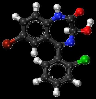 3-Hydroxyphenazepam - Image: 3 Hydroxyphenazepam ball and stick model