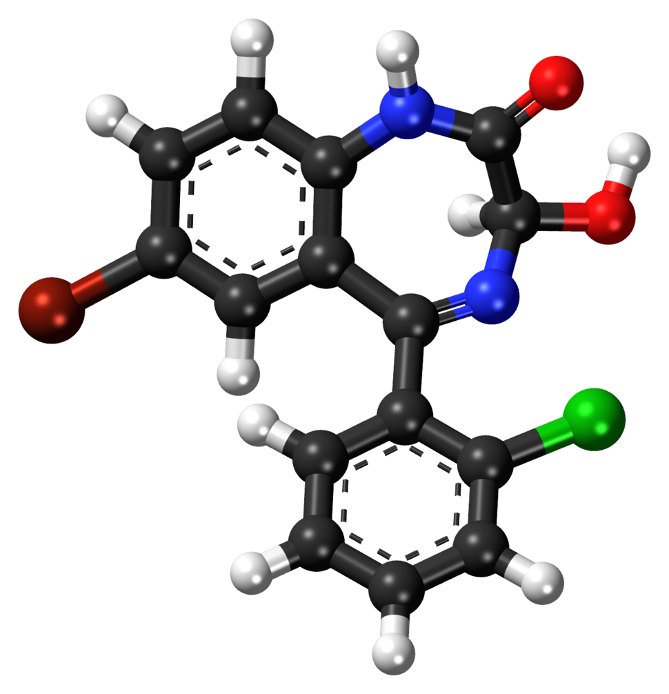 3-Hydroxyphenazepam ball-and-stick model